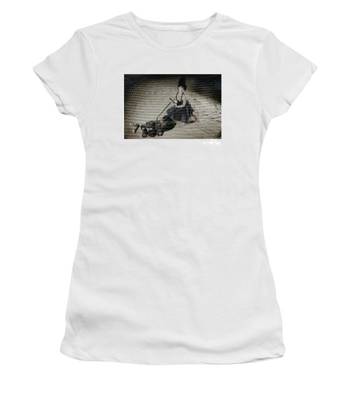 Bizarre Girl With Lawn Mower On Beach Women's T-Shirt (Athletic Fit)