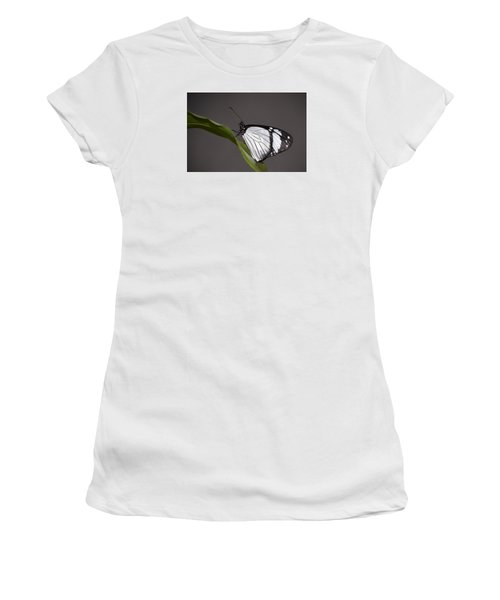 Women's T-Shirt (Junior Cut) featuring the photograph Black And White Butterfly by Penny Lisowski