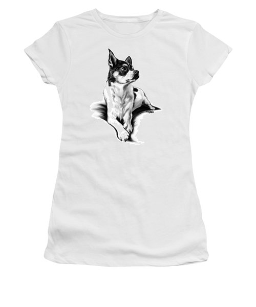 Black And White Chihuahua By Spano Women's T-Shirt (Athletic Fit)