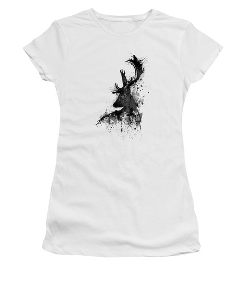 Black And White Deer Head Watercolor Silhouette Women's T-Shirt (Athletic Fit)