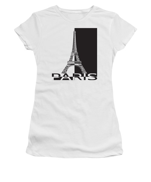 Black And White Eiffel Tower Women's T-Shirt (Athletic Fit)