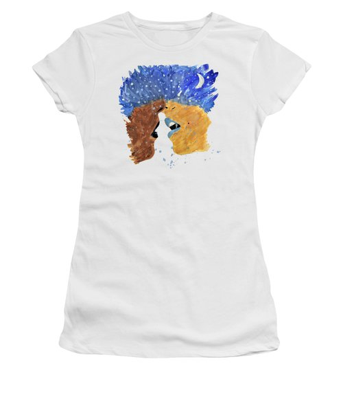 Women's T-Shirt (Junior Cut) featuring the photograph Romantic Kissing With Stars In Their Hair by Lucy Frost