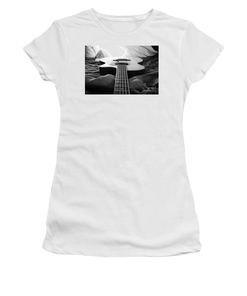 Women's T-Shirt (Junior Cut) featuring the photograph Black And White Guitar by MGL Meiklejohn Graphics Licensing