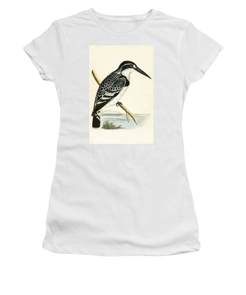 Black And White Kingfisher Women's T-Shirt (Athletic Fit)