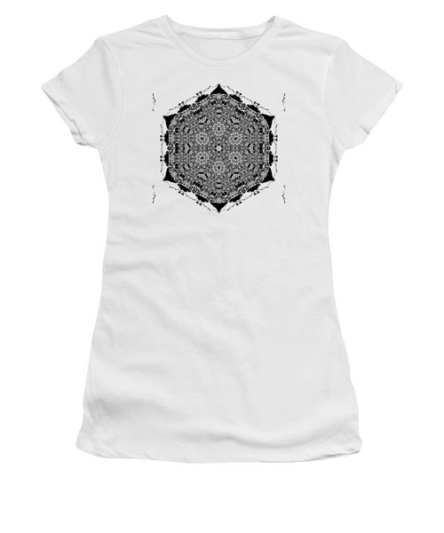 Women's T-Shirt featuring the digital art Black And White Mandala 15 by Robert Thalmeier