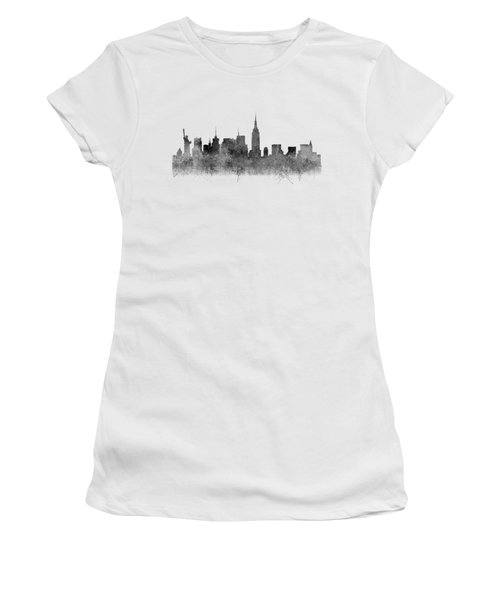 Women's T-Shirt (Athletic Fit) featuring the digital art Black And White New York Skylines Splashes And Reflections by Georgeta Blanaru
