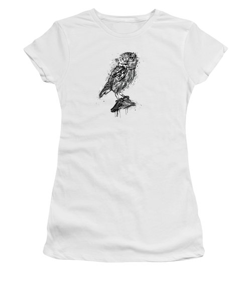 Black And White Owl Women's T-Shirt (Athletic Fit)