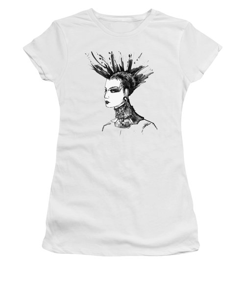 Women's T-Shirt (Junior Cut) featuring the digital art Black And White Punk Rock Girl by Marian Voicu