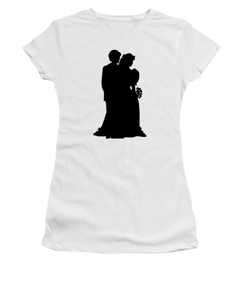 Black And White Silhouette Of A Bride And Groom Women's T-Shirt
