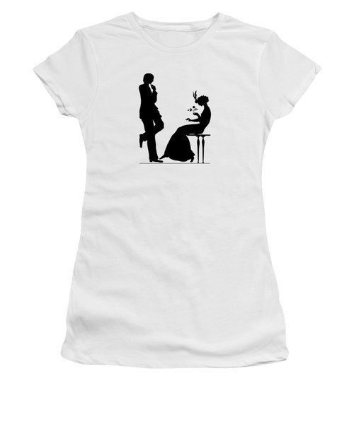 Black And White Silhouette Of A Man Giving A Woman A Flower Women's T-Shirt