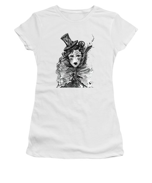 Women's T-Shirt (Junior Cut) featuring the mixed media Black And White Watercolor Fashion Illustration by Marian Voicu