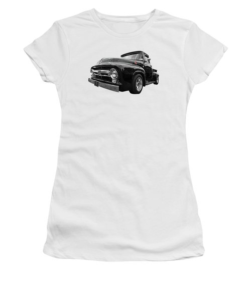 Women's T-Shirt (Junior Cut) featuring the photograph Black Beauty - 1956 Ford F100 by Gill Billington