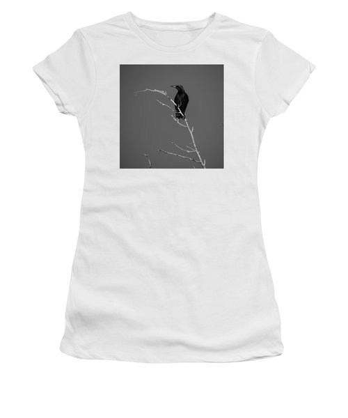 Black Bird On A Branch Women's T-Shirt (Athletic Fit)