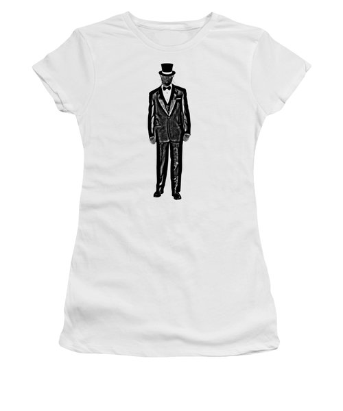 Black Cat Wearing Tuxedo And Top Hat Women's T-Shirt (Athletic Fit)
