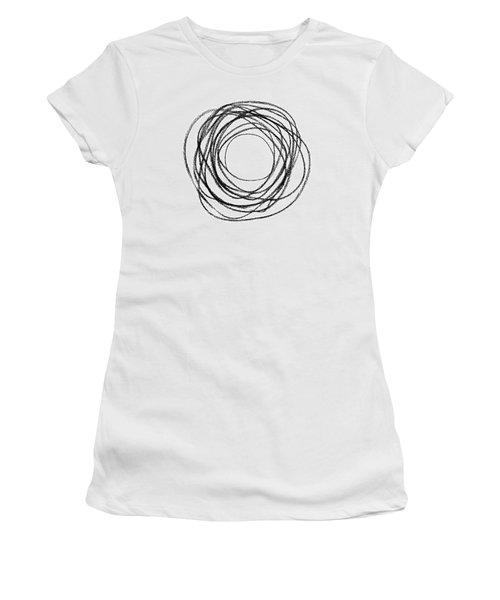 Black Doodle Circular Shape Women's T-Shirt (Junior Cut) by GoodMood Art
