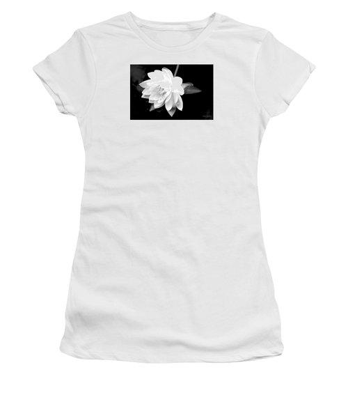 Black/white Lotus Women's T-Shirt (Junior Cut) by Debra     Vatalaro