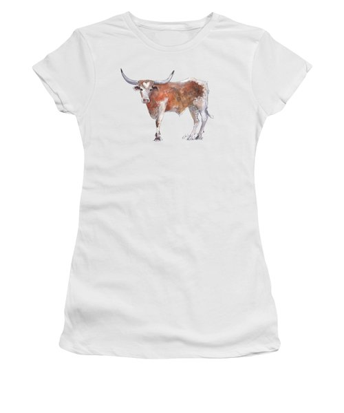 Bless Your Heart Of Texas Longhorn A Watercolor Longhorn Painting By Kathleen Mcelwaine Women's T-Shirt (Athletic Fit)
