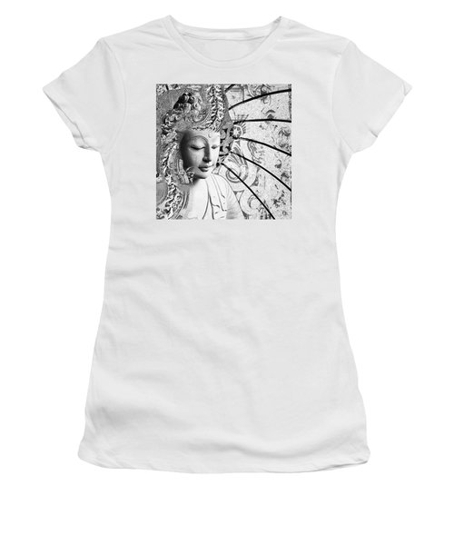 Women's T-Shirt featuring the digital art Bliss Of Being - Black And White Buddha Art by Christopher Beikmann
