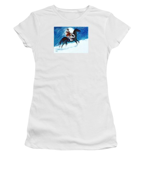 Women's T-Shirt (Junior Cut) featuring the painting Blizzard Moon-the Last Stray by Seth Weaver