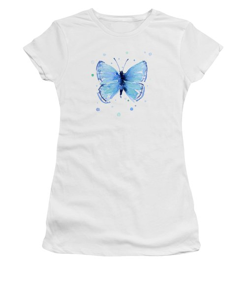 Blue Abstract Butterfly Women's T-Shirt (Athletic Fit)