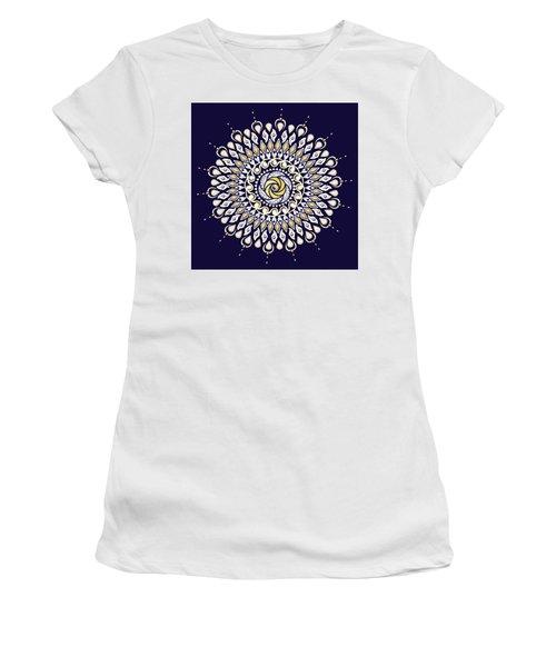 Blue And Gold Lens Mandala Women's T-Shirt (Junior Cut) by Deborah Smith