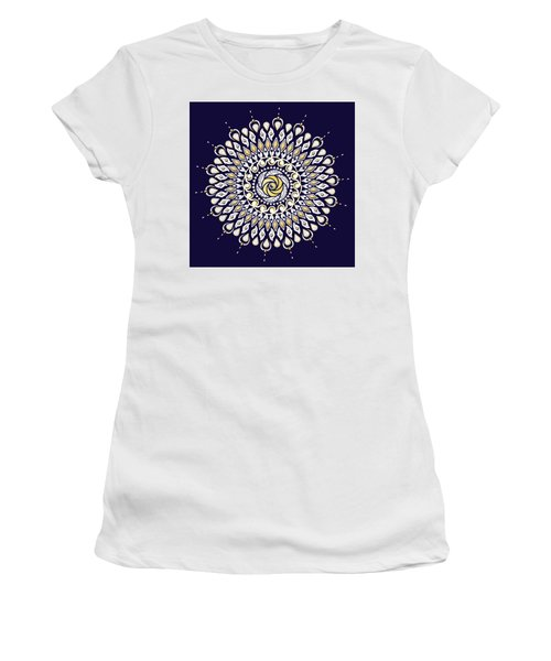 Blue And Gold Lens Mandala Women's T-Shirt (Athletic Fit)