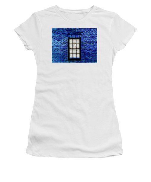 Women's T-Shirt (Junior Cut) featuring the digital art Blue Brick by Robert Geary