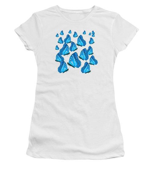 Blue Butterflies Women's T-Shirt (Junior Cut) by Jan Matson