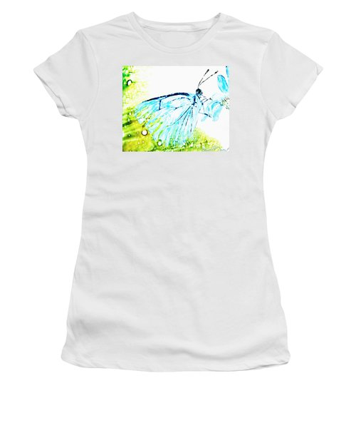 Blue Butterfly On Daisy Alcohol Inks Women's T-Shirt