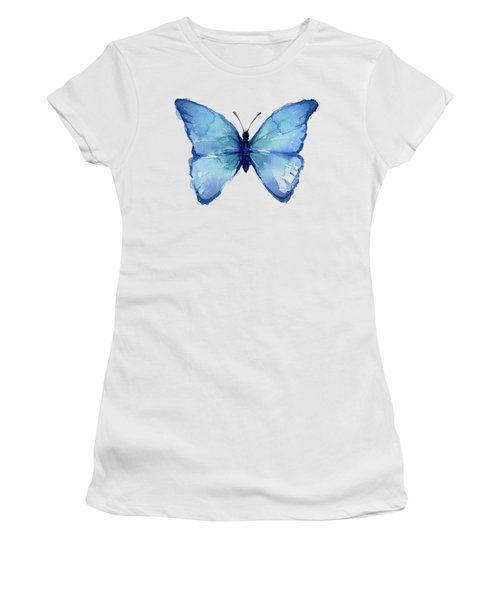 Blue Butterfly Watercolor Women's T-Shirt (Athletic Fit)