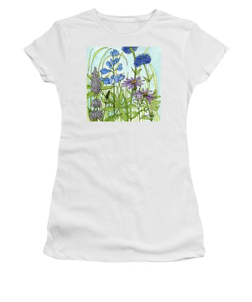 Women's T-Shirt (Athletic Fit) featuring the painting Blue Buttons by Laurie Rohner