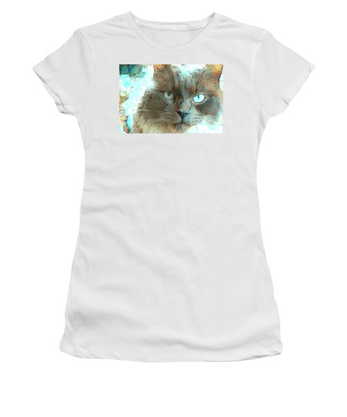 Blue Eyed Persian Cat Watercolor Women's T-Shirt (Athletic Fit)