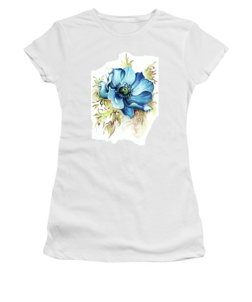 Women's T-Shirt (Junior Cut) featuring the painting Blue Gem by Anna Ewa Miarczynska