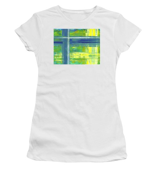 Blue Geometric Yellow Women's T-Shirt (Athletic Fit)