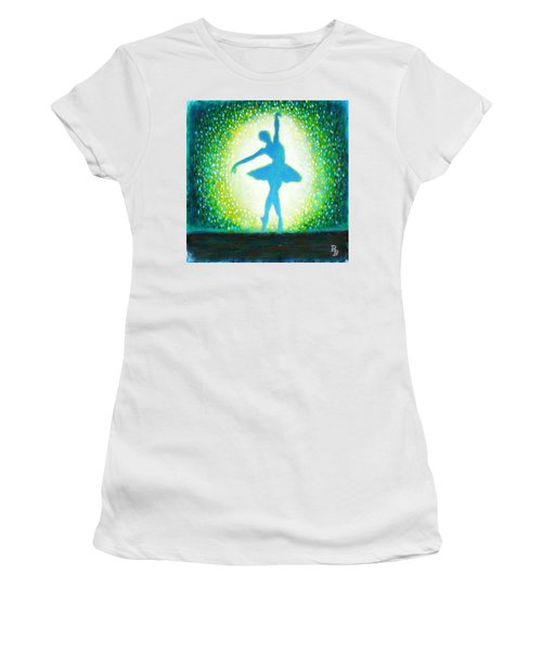 Women's T-Shirt (Athletic Fit) featuring the painting Blue-green Ballerina by Bob Baker
