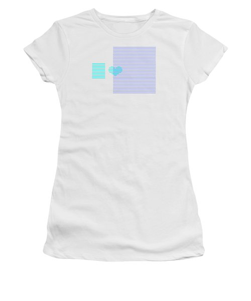 Blue Heart Stripes Women's T-Shirt