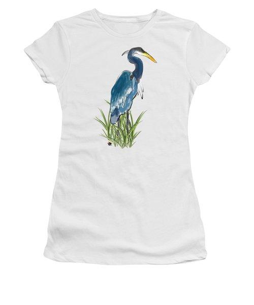 Blue Heron Women's T-Shirt (Junior Cut) by Devon LeBoutillier