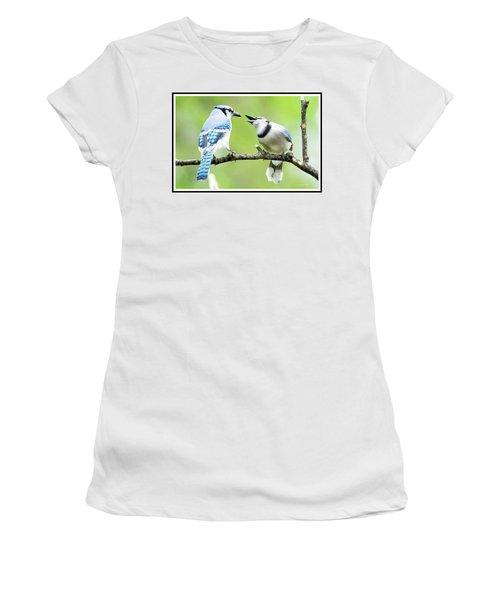 Blue Jay Parent Feeding Juvenile Women's T-Shirt (Junior Cut) by A Gurmankin