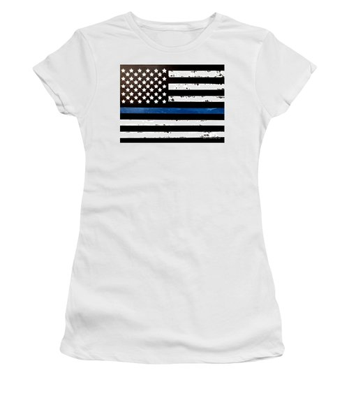 Women's T-Shirt (Athletic Fit) featuring the painting Blue Line Flag by Denise Tomasura