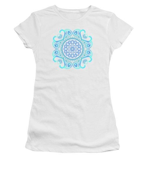 Women's T-Shirt (Junior Cut) featuring the painting Blue Lotus Mandala by Tammy Wetzel
