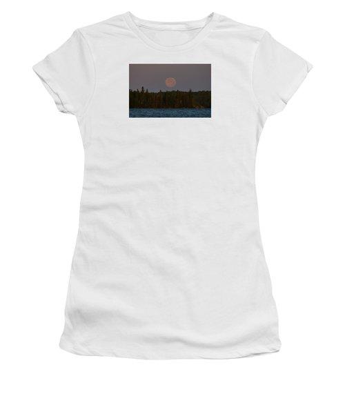 Blue Moon Over Berry Lake Women's T-Shirt (Junior Cut) by Steven Clipperton