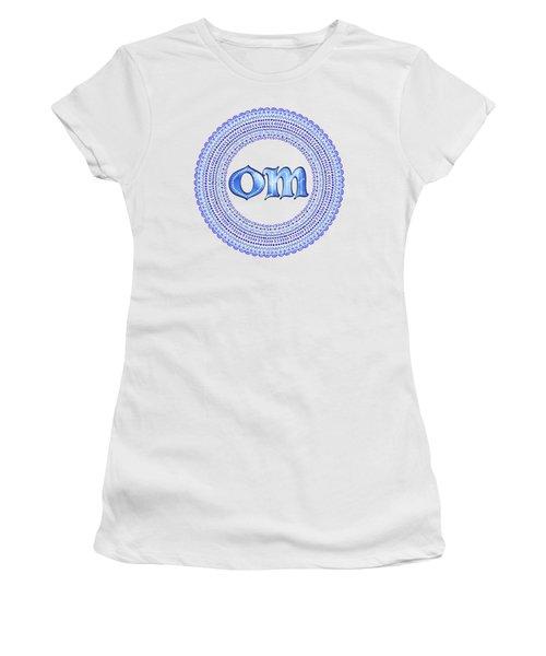 Women's T-Shirt (Junior Cut) featuring the painting Blue Om Mandala by Tammy Wetzel