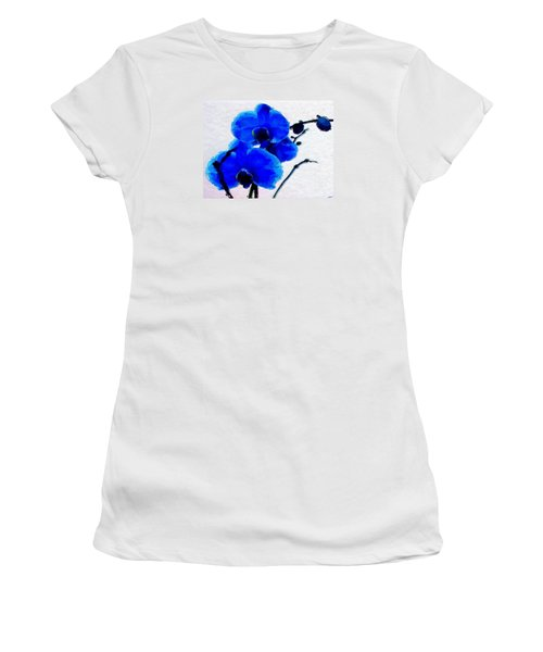 Women's T-Shirt (Junior Cut) featuring the digital art Blue Orchid  by Anthony Fishburne