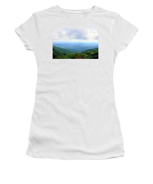 Women's T-Shirt (Junior Cut) featuring the photograph Blue Ridge Parkway Overlook by Meta Gatschenberger