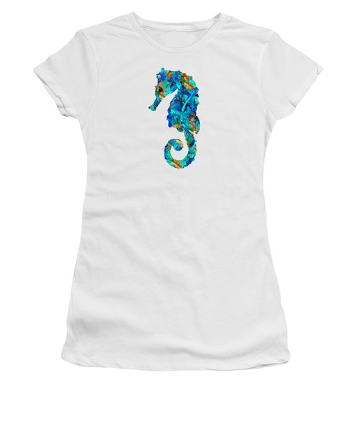 Blue Seahorse Art By Sharon Cummings Women's T-Shirt