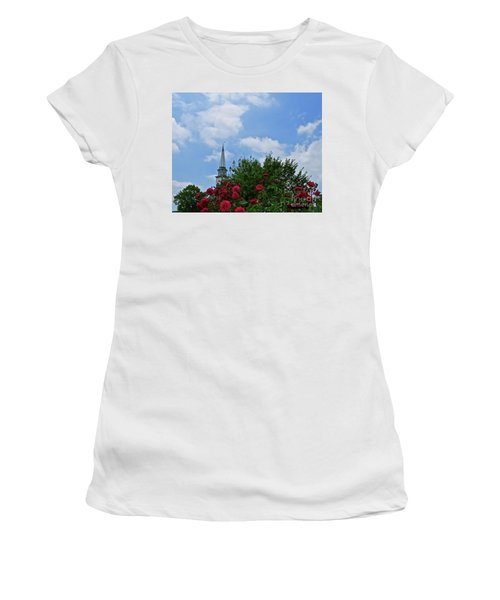 Blue Sky And Roses Women's T-Shirt (Athletic Fit)