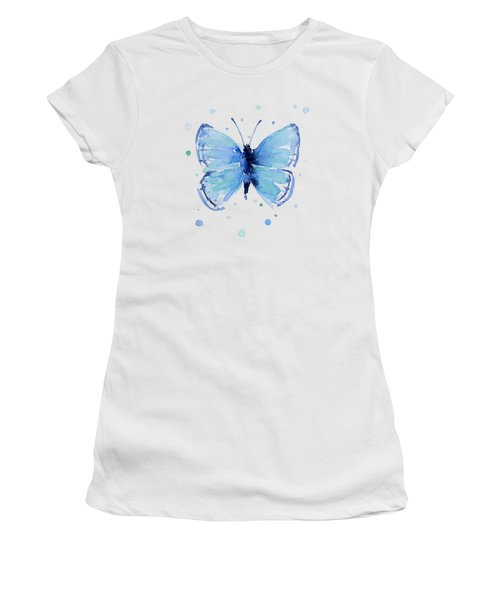 Blue Watercolor Butterfly Women's T-Shirt (Athletic Fit)