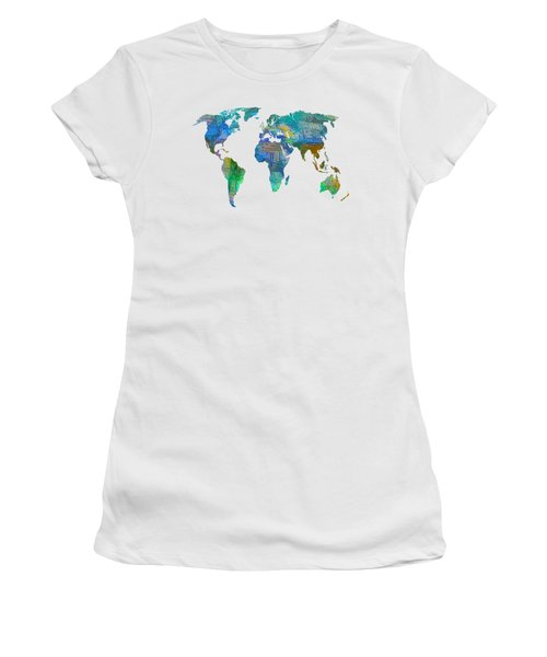Blue World Transparent Map Women's T-Shirt (Athletic Fit)