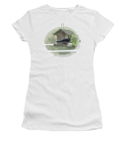 Bluejay Women's T-Shirt (Junior Cut) by Judy Hall-Folde