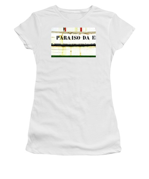 Women's T-Shirt (Junior Cut) featuring the photograph Boat Letters by Marion McCristall